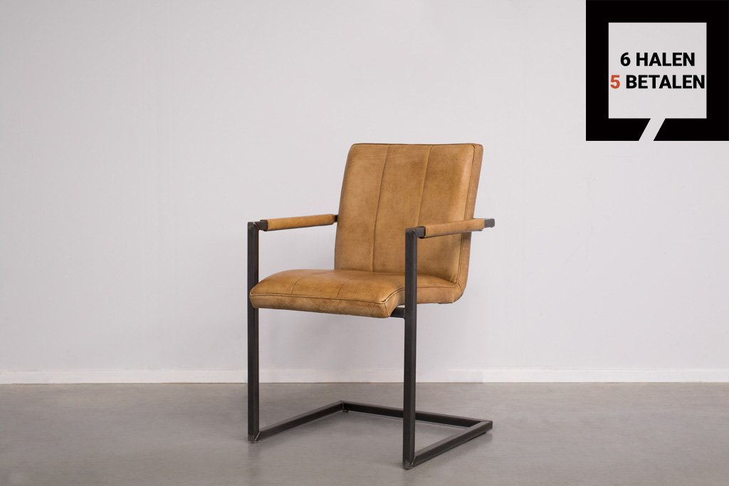Industrial dining room chair Safira | with armrests | industrial square