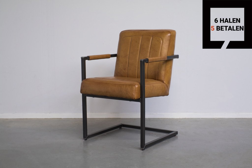 Industrial dining room chair Brashov| with armrest | industrial square