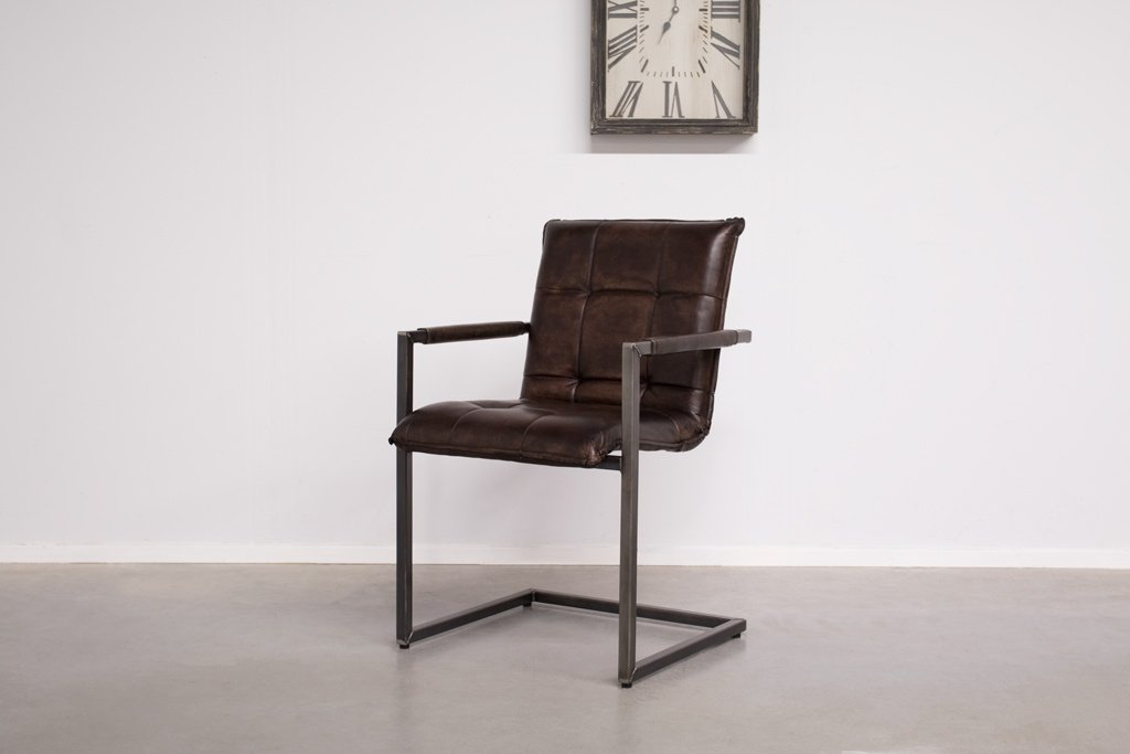Industrial dining room chair Capo| with armrest | industrial square
