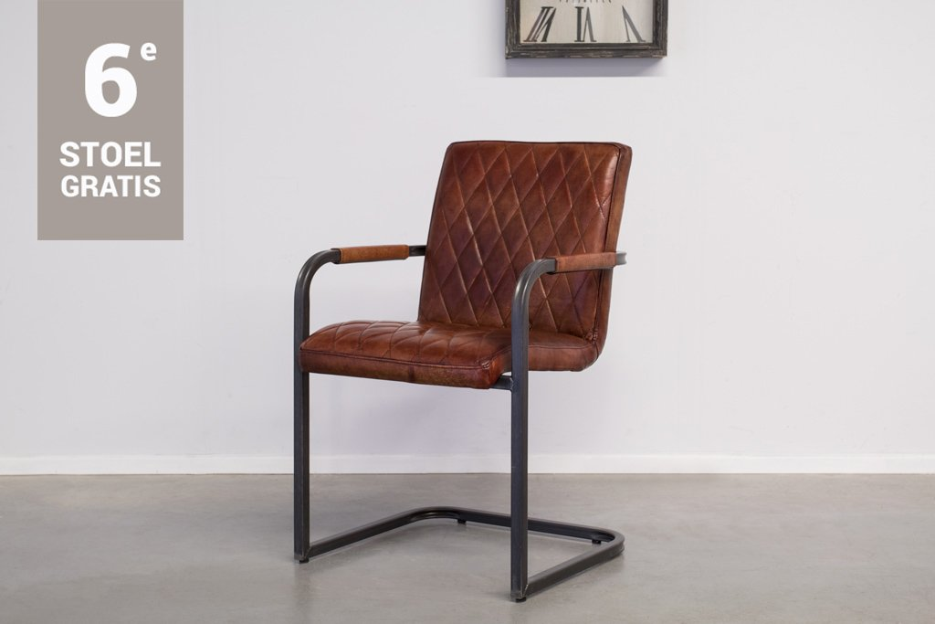 Industrial dining room chair Mary | with armrests | vintage square