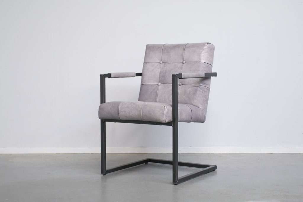 Industrial dining room chair Arad| with armrest | industrial square