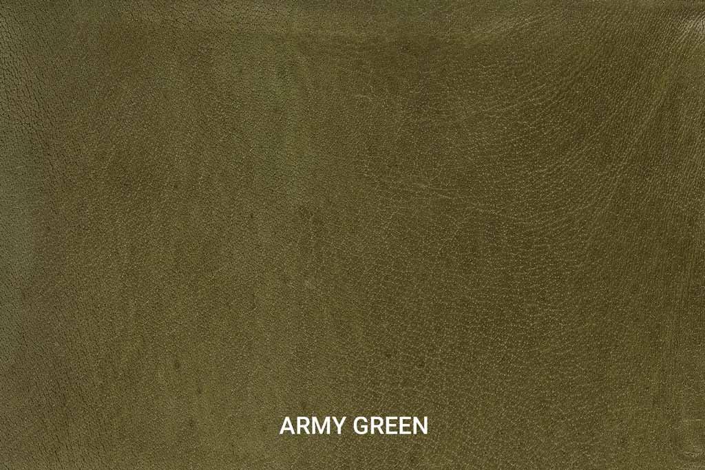 Kleurstaal Hand gepoetst buffelleer Army Green