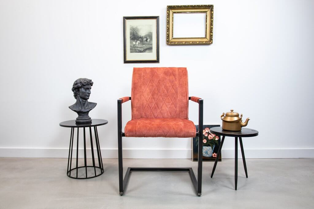 Industrial fabric dining room chair Bob| with armrest | industrial square