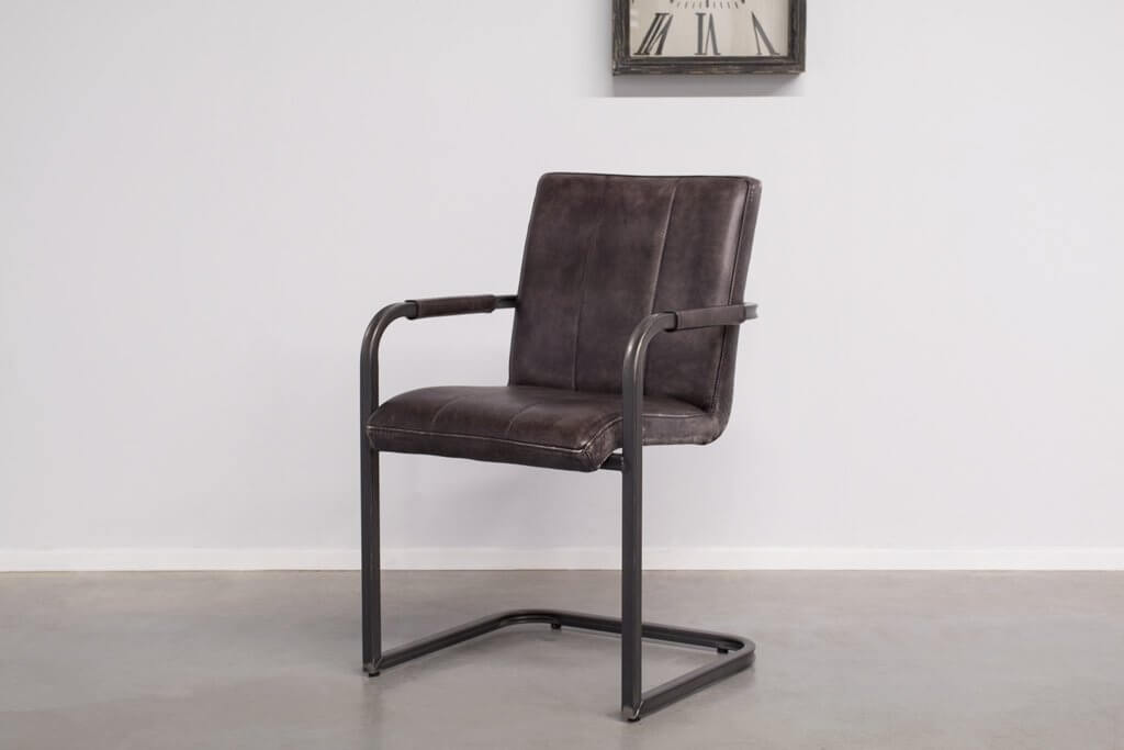 Industrial dining room chair Safira | with armrests | vintage square